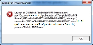 Bullzip - Launch of GUI failed